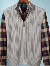 100% Cotton Cable Full Zip Mock Collar Sweater Vest