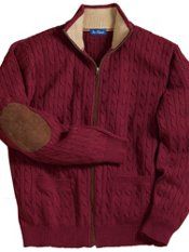 100% Cotton Cable Full Zip Mock Collar Sweater