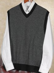 Wool & Cashmere Herringbone Sweater Vest