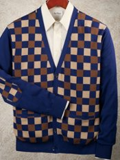 100% Cotton Check Cardigan Sweater