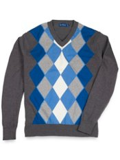 100% Cotton Argyle V-Neck Collar Sweater