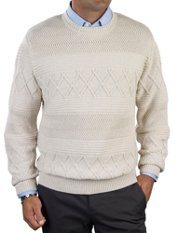 100% Cotton Cable Crew Neck Sweater