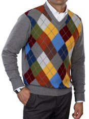 100% Cotton Argyle V-neck Pullover Sweater