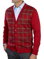 100% Cotton Plaid Button Front Cardigan Sweater