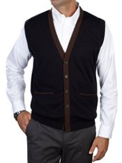 100% Cotton Button Front V-Neck Sweater Vest