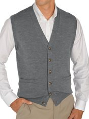 Italian Extra Fine Merino Wool Button Front Sweater Vest