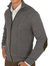 100% Cotton Cable Full Zip Mock Neck Sweater