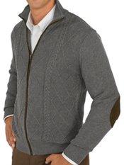 100% Cotton Cable Mock Neck Zipper Front Sweater W/faux Suede Details