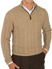 100% Cotton Cable Zip Neck Sweater