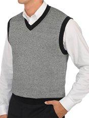 95% Cotton, 5% Cashmere Birdseye V-neck Pullover Sweater Vest