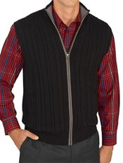 100% Cotton Cable Mock Neck Zip Front Sweater Vest W/faux Suede Details