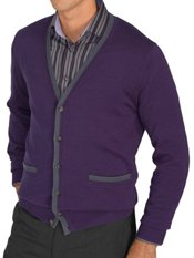 100% Cotton Solid 6-btn Front Cardigan Sweater W/trim Details