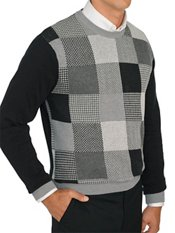 100% Cotton Patchwork Crew Neck Pullover Sweater