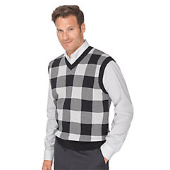 Men's Vintage Inspired Vests 100 Cotton Buffalo Plaid V-Neck Sweater Vest $43.00 AT vintagedancer.com
