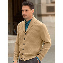 Men's Vintage Style Sweaters – 1920s to 1960s 100 Cotton Textured Double Shawl Collar Button Front Cardigan Sweater $66.00 AT vintagedancer.com