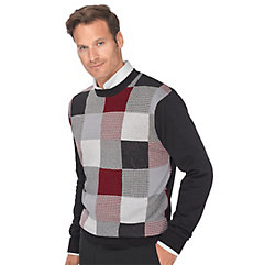 Men's Vintage Style Sweaters – 1920s to 1960s Silk  Cotton Patchwork Crew Neck Sweater $53.00 AT vintagedancer.com