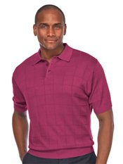 Silk Grid Pattern Fine Gauge Short Sleeve Polo-Collar Sweater