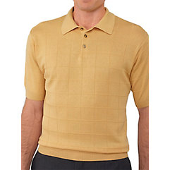 Silk Grid Pattern Fine Gauge Short Sleeve Polo-Collar Sweater $45.00 AT vintagedancer.com