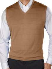 Silk Grid Pattern Fine Gauge Short Sleeve V-Neck Sweater Vest
