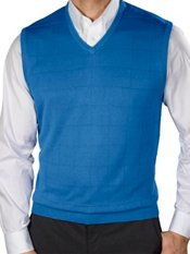 Silk Grid Pattern Fine Gauge V-Neck Sweater Vest