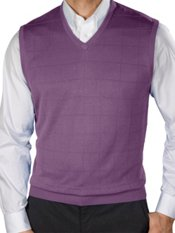 Spun Silk Grid Pattern Fine Gauge Short Sleeve V-Neck Sweater Vest