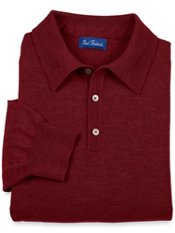 Merino Wool Blend Polo Collar Sweater