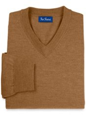 Merino Wool Blend V-Neck Collar Sweater