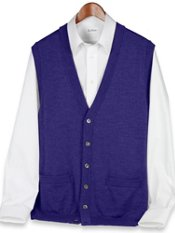 Merino Wool Blend Button Front Cardigan Sweater Vest