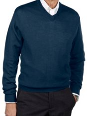 Merino Wool Blend V-neck Sweater
