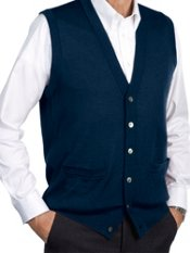 Merino Wool Blend Cardigan Sweater Vest