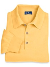 Pima Cotton Polo-Collar Sweater