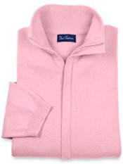 Pima Cotton Full Zip Mock Neck Sweater