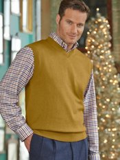 Silk, Cotton, & Cashmere V-Neck Sweater Vest
