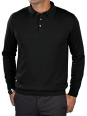 55% Silk/40% Cotton/5% Cashmere Solid Long Sleeved Polo Collar Sweater