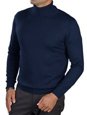 55% Silk/40% Cotton/5% Cashmere Solid Long Sleeved Turtleneck Sweater