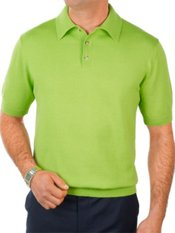 Pima Cotton Solid Polo Collar Short Sleeve Pullover Sweater