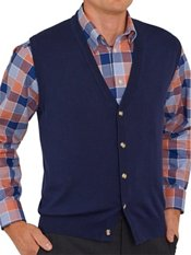 Pima Cotton Button Front Cardigan Sweater Vest