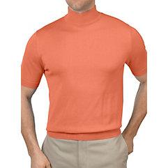 Pima Cotton Mock Neck Short Sleeve Sweater $12.00 AT vintagedancer.com