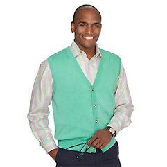 1960s Style Men's Clothing Pima Cotton Solid Button Front Cardigan Vest $45.00 AT vintagedancer.com