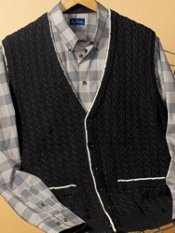 Cotton Cable Cardigan Sweater Vest