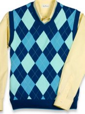 Cotton Argyle V-Neck Sweater Vest
