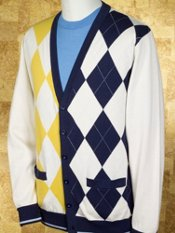 Cotton Argyle Cardigan Sweater