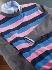 Cotton Horizontal Stripe Crew Neck Sweater