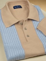Cotton Cable Polo-Collar Short Sleeve Sweater