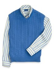 Cotton Cable V-Neck Sweater Vest
