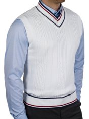 100% Cotton Cable V-Neck Sweater Vest