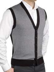 100% Cotton Herringbone Cardigan Sweater Vest