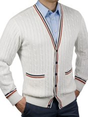 100% Cotton Cable Button Front Cardigan Sweater