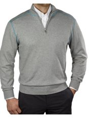 Cotton & Cashmere Heathered Half Zip Pullover Sweater