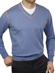 Cotton & Cashmere Heathered V-Neck Pullover Sweater